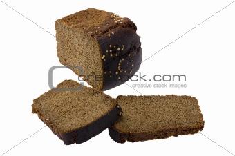 Cutting black bread macro