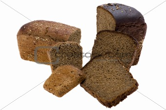 Cutting black bread on white