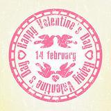 Pink grunge rubber stamp Valentine's Day. EPS 8