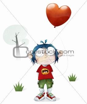Boy holding a love heart balloon