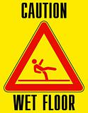 Bright yellow wet floor sign. EPS 8