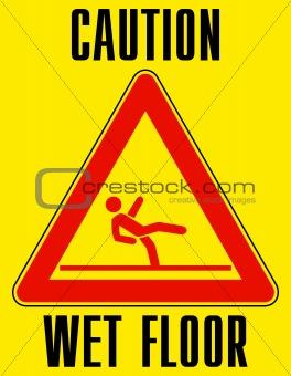 Bright yellow wet floor sign. EPS 8