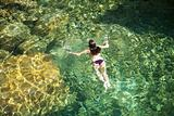 white woman in green water