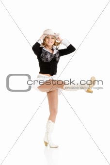 Young cowgirl woman dancing