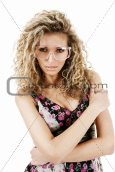 Woman in protect glasses