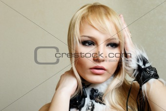 Attractive blond woman portrait