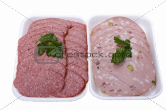 sliced sausage close up