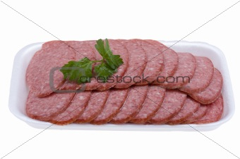 sliced sausage isolated on white background