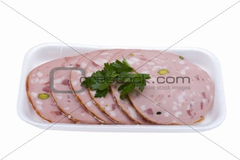 sliced sausage isolated on white