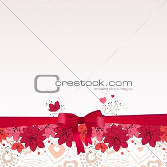 Greeting card with bow and flowers