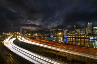 Freeway Light Trails in Downtown Portland Oregon 2
