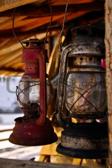 Rusted old petroleum lamps