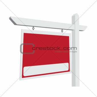 Blank Red Vector Real Estate Sign Ready For Your Own Message.