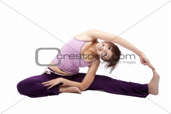 Portrait of pretty young girl doing yoga