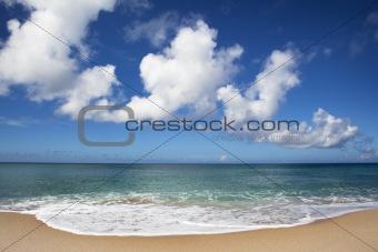 Clear blue sky and Beautiful beach