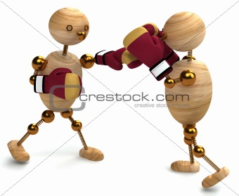 Boxing of two wood mans
