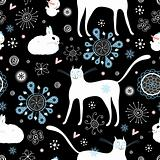 seamless pattern of white cats and rabbits
