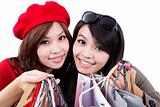 Two Beauty shopping sisters isolated on white background