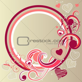 Frame with hearts and swirl elements
