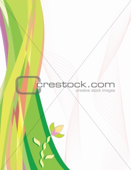 Abstract flower on wave background