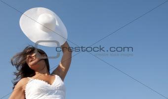 freedom girl in the blue sky