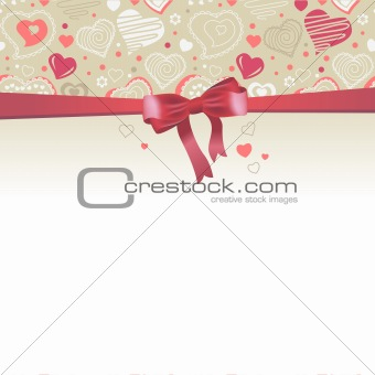 Greeting card with red bow and hearts