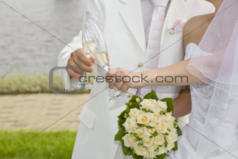 Champagne in just-married couple's glasses
