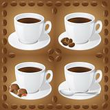 set of icons of cups with coffee