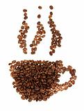Silhouette mugs of coffee beans on the white