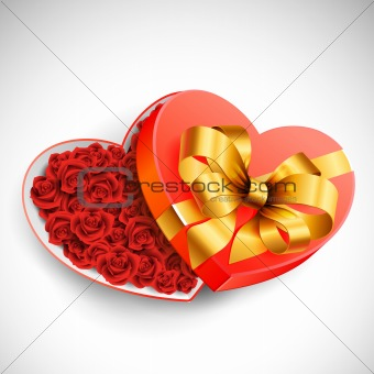 Valentine`s box of roses