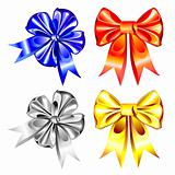 vector set of shiny ribbon bows