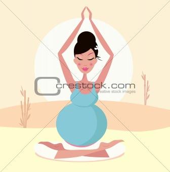 Beautiful pregnant mom practicing yoga pose