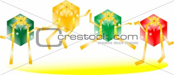 smile Gift Box with bows dance on isolated white background