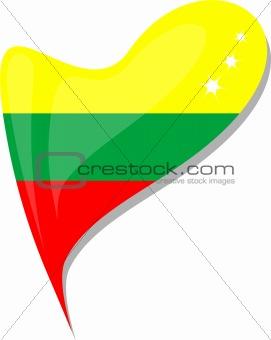 Lithuanian flag button heart shape