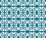 Antique scroll seamless blue wallpaper