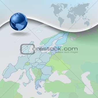 Abstract business blue background with globe