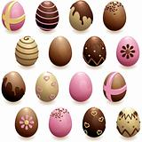 set of decorated chocolate eggs