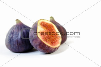 Three beautiful healthy fig isolated