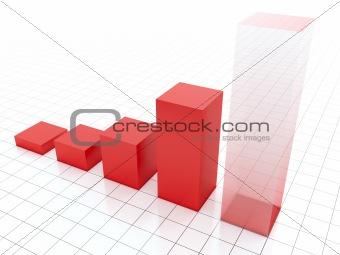 Growing red diagram