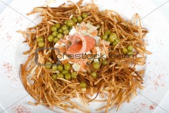 Closeup of salad with salmon fish
