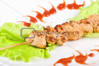 Grilled chicken meat closeup