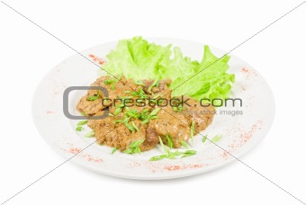 Fried liver of a rabbit