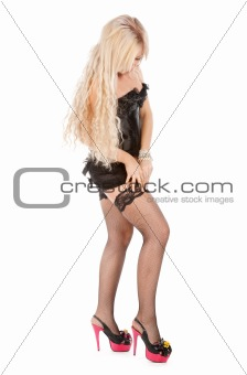 beautiful blonde in black corset and stockings