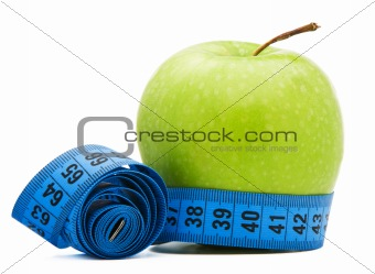 Green apple with centimeter