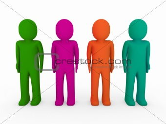 3d human team green pink orange