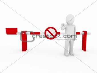 3d human stop barrier red ban