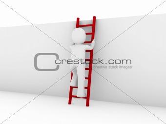 3d human ladder red
