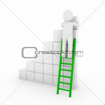 3d human cube ladder green