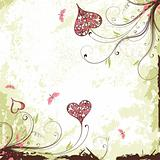 Valentines Day grunge background with hearts and flowers