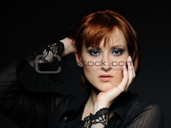 Beauty portrait of pretty woman with short fashion bob hairstyle